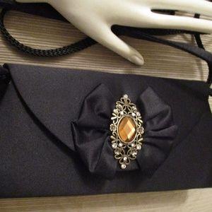 Black satin rhinestone evening bag